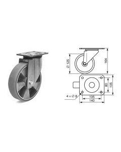 Roulette pivotante diamètre 125mm 1374