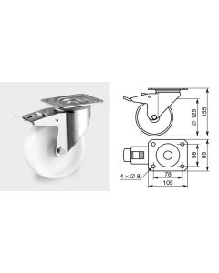 Roulette pivotante diamètre 125mm 1372
