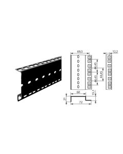 Profilé de rack double à trous carrés 42050