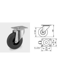Roulette pivotante diamètre 100mm 1351
