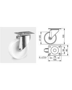 Roulette pivotante diamètre 125mm 1371