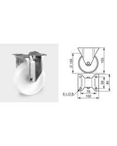 Roulette fixe diamètre 125mm 1373