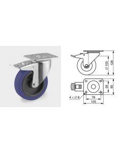 Roulette pivotante diamètre 100mm 1368
