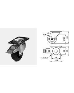 Roulette pivotante diamètre 80mm 1314