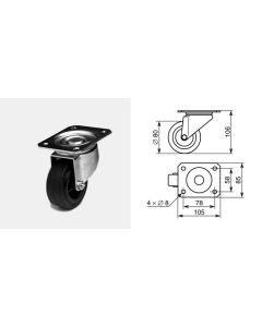 Roulette pivotante diamètre 80mm 1313