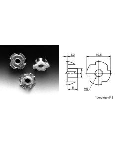 Ecrou à frapper diamètre 6mm EG6