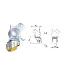 Roulette pivotante diamètre 35mm sur coin à boule 9431